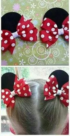 Hair Clips - Minnie ear bows Hair Clips - Minnie ear bows - Health and wellness: What comes naturally Hair Ribbons, Ribbon Bows, Ribbon Hair Clips, Disney Hair Bows, Minnie Mouse Hair Bow, Mickey Mouse, Hair Bow Tutorial, Baby Hair Clips, Diy Bow