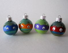 Ninja Turtles Christmas Ornament- Set of 4 Hand Painted TMNT Inspired Miniature Glass Ball Ornaments. $32.00, via Etsy.