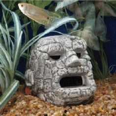 Aquarium vivarium large line of easter island heads for Moai fish tank