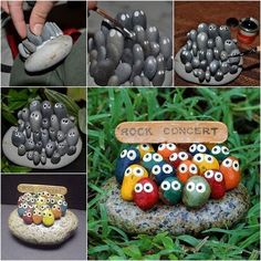 "looks like the ""unfortunate souls"" from The Little Mermaid DIY Adorable Rock Concert Painted Rock Art / iCreativeIdeas.com"
