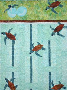 Check out this item in my Etsy shop https://www.etsy.com/listing/193009899/sea-turtle-quilted-wallhanging