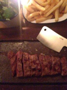 Flat Iron Steak - a less expensive tasty steak dinner in Soho.
