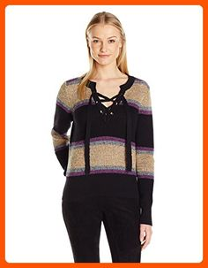 BCBGeneration Women's Lace-up Marled Rainbow Sweater, Black Combo, Small - All about women (*Amazon Partner-Link)