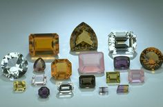 Group of faceted Quartz gems from the National Gem Collection