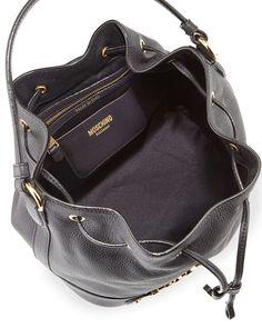 Logo Leather Drawstring Shoulder Bag, Black