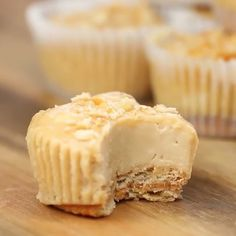 Mini Peanut Butter Cheesecakes Form peanut butter sandwiches with ritz crackers. Place them in the bottom of each cup of a muffin tin. In a large bowl beat together 16 oz cream cheese, 1/2 cup sugar. Then add 1/2 cup peanut butter, 1/2 cup sour cream, 1 tsp vanilla, 2 eggs, and beat again. Pour mixture over each peanut butter sandwich until each cup is 3/4 full. Top with crushed ritz cracker. Bake for 22 minutes at 275°F. Let cool completely and then refrigerate 2 hours