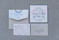 Silver and Navy Vintage Gatsby Art Deco Winter Snow Wedding Invitation by LamaWorks