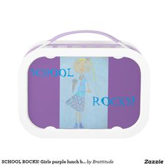 SCHOOL ROCKS! Girls purple lunch box. Lunch Box