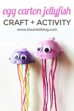 Egg Carton Jellyfish Puppets – Easy and Fun Painting Craft for Kids - Upcycled Crafts Painting Crafts For Kids, Crafts For Kids To Make, Craft Activities For Kids, Preschool Crafts, Kids Crafts, Craft Kids, Baby Crafts, Jellyfish Painting, Jellyfish Drawing