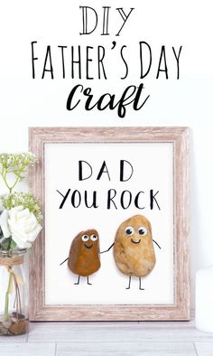 Dad You Rock! Cute Father's Day craft idea for kids, funny pun craft - easy to make and makes a great gift for fathers day!