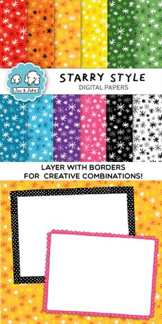 Clip Art: Starry Style Digital Papers for Personal and Commercial Use