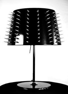 Black and spiked lampshade / Goth Decor