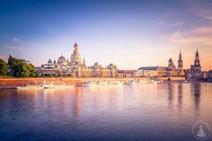 Dresdner Altstadt zum Sonnenuntergang