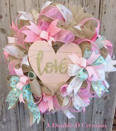 Follow me on Facebook, Etsy adoubledcreation www.adoubledcreation.patternbyetsy.com Shabby Chic Wreath, Valentine Day Wreath, Heart Wreath, Love Wreath, Shabby Chic Valentine Wreath, Mother's Day Wreath, Wedding Wreath