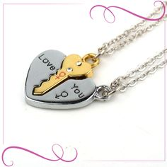 European Sliver Plated Key Pendant Necklaces For Womens Lover Couple Jewelry Broken Heart Necklace Valentine Gift Good Luck Necklace, Key Necklace, Evil Eye Necklace, Pendant Necklace, Necklace Price, Pendant Jewelry, Couple Necklaces, Couple Jewelry, Matching Necklaces