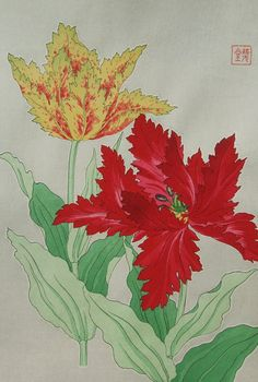 Kawarazaki Shodo (1889 -1973) Japanese woodblock print   Tulip Printed 1958, First edition