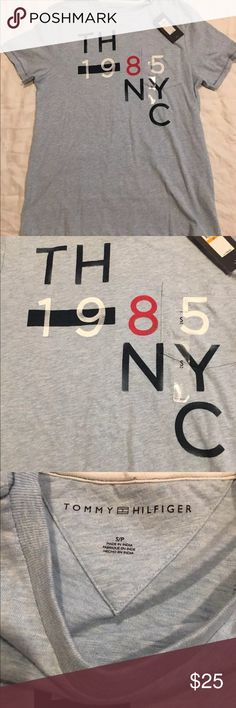 New Men's Tommy Hilfiger T-Shirt small Tommy Hilfiger men's T-shirt small light blue  1985 NYC Tommy Hilfiger Shirts Tees - Short Sleeve