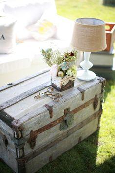 A rustic vintage trunk