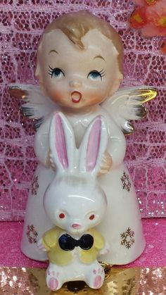 Vintage Angel Holding Bunny Figurine Easter Decor or Angel Collection RARE ONE