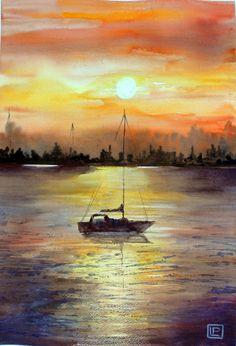 -tramonto dorato- acquerello di Lorenza Pasquali 51x35