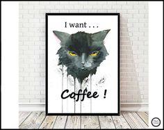 """Digitaldruck - """"I want coffee"""" - Katzen Print von Aquarell - ein Designerstück…"""