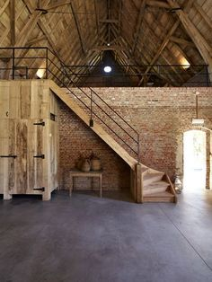 Instead of having upstairs, just have brick wall divider. Hallway on each side; ride hallway for groom; left hallway for bride. Each hallway leads to atrium. From hallway/bride, grooms suite a secluded outdoor porch/grass area. Converted Barn Homes, Barn Renovation, Farmhouse Renovation, Outdoor Stairs, Loft House, Brick Flooring, Brick Wall, Future House, House Plans