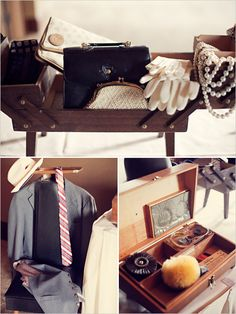 1960s Mad Men Vintage Accessory Bar for Photobooth - gloves, clutches, necklace for girls.  fedora, tie, etc for guys