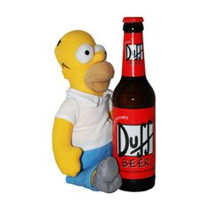 "Duff Beer is taken from the famous cartoon: The Simpsons. The bottle is exactly the same as the one in the cartoon: the background is red; this bright colour attracts the eye of the consumer in the shelf.  The graphic is the same, ""Duff"" is written in black on a white background and the overall shape of the bottle is also taken from the cartoon. That's why the beer is immediately recognizable and is a successfully marketing tool. This brand enjoys of celebrity of the Simpsons."