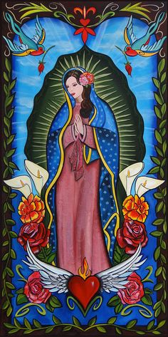 lady of guadalupe by melody smith catholic tattoo artwork canvas fine art print madonna virgin-of-guadalupe virgin-mary catholic design Catholic Art, Religious Art, Virgin Mary Art, Aztecas Art, Madonna, Urbane Kunst, Tattoo On, Inca Tattoo, Mexican Folk Art