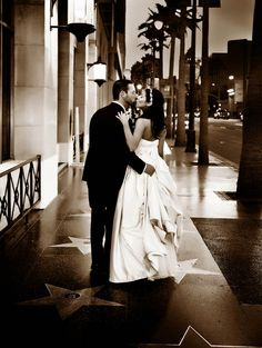 Bride & Groom on Hollywood Blvd. during their wedding ceremony at Hollywood Roosevelt Hotel