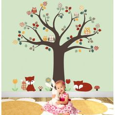 NEW Fox and Owl Woodland Nursery Wall Sticker Scene featuring Owls and Foxes