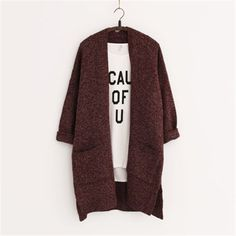 Long Women Cardigans Autumn Winter Brand Long Style Knitted with Pockets Sweaters European Style