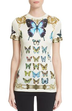 Versace Collection Butterfly Print Jersey Top available at #Nordstrom