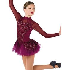 Burgundy spandex and mesh short unitard with sequin on mesh overlay and attached top skirt. Tango, Dance Costumes Tap, Salsa, Figure Skating Dresses, Modern Love, Dance Moms, Dance Outfits, Dance Wear, Leotards