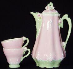 pink and mint jeweled Chocolate Pot Teapot Coffee Pot