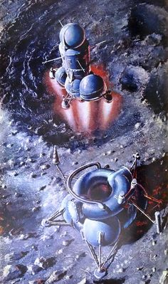SPrototype moon lander - Soviet space art by Andrei Sokolov for Человек и Вселенная (Man and the Universe) by Alexei Leonov and Andrei Sokolov, 1976.ci-fi Covers