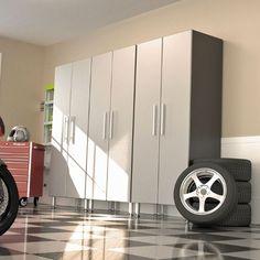 Set of 3 Garage PRO Heavy Duty Storage Cabinets Metallic Silver Doors/Graphite Cabinet