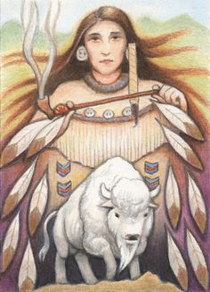 White Buffalo Woman Drawing  - White Buffalo Woman Fine Art Print