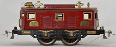 Ives prewar standard gauge red 3235R box cab electric locomotive, looks C6+ but is missing all of the window inserts.