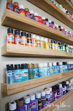 Trendy ideas for craft room storage diy house Craft Paint Storage, Diy Makeup Storage, Storage Ideas, Wall Storage, Cheap Storage, Storage Solutions, Acrylic Paint Storage, Spray Paint Storage, Makeup Shelves