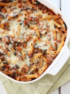 BAKED PASTA w/ SAUSAGE AND SPINACH