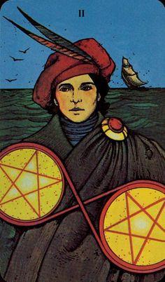 Two of Pentacles - Morgan-Greer Tarot by Bill Greer, Lloyd Morgan
