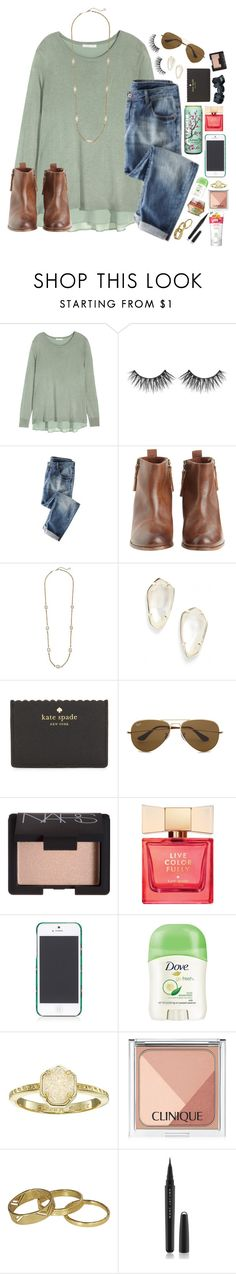 """{HAPPY MARCH}"" by lydia-hh ❤ liked on Polyvore featuring H&M, Hoss Intropia, Kendra Scott, Kate Spade, Ray-Ban, NARS Cosmetics, Tory Burch, Dove, Clinique and Junk Food Clothing"