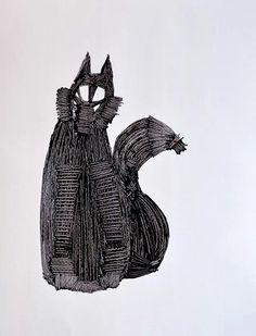 Tangle Fox Oil and Acrylic on paper 24 x 32 cm https://www.facebook.com/erikamarchipainter www.erikamarchi.it #madeinitaly #art #mood #fox #style #minimal #artist #artmadeinitaly #minimale #blackandwhite #erikamarchi #italy #minimalart #bw #abstract #minimalist #volpe #style #tangle #gomitoli