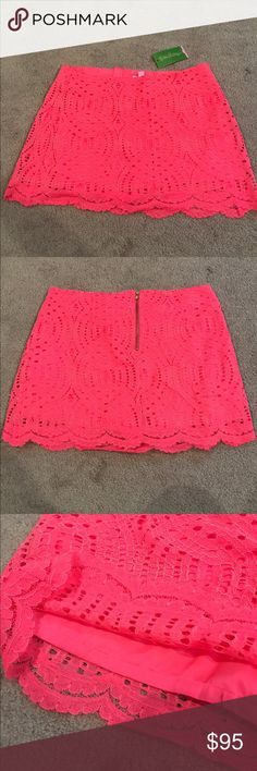 Lilly Pulitzer Lace Pink/Coral Skirt BNWT size 4, zippered back, silk short slip underneath. SO cute Lilly Pulitzer Skirts