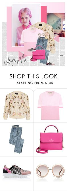 """""""Edgy in pink"""" by stephaniee90 ❤ liked on Polyvore featuring Needle & Thread, Fendi, Wrap, Kate Spade, Karl Lagerfeld and Chloé"""