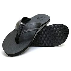f8a79c3f9dc95 KuaiLu Men s Yoga Mat Leather Flip Flops Thong Sandals with Arch Support