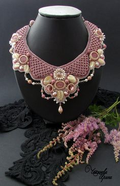 Embroidered Necklace  beadwork jewelry-beaded by ChikinevaIrina
