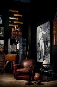 Way too dark, but there is a giant old boxing picture, which is a fun idea for a wall. Also note the industrial vibe.