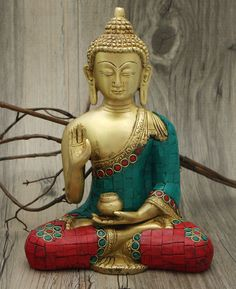 Medicine Buddha Brass Statue with Colorful Detailing